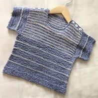 清凉款双肩开扣儿童棒针海魂衫(2岁男宝适用)