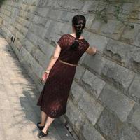 红菲  女士长袖毛衣改版棒针短袖长裙编织教程