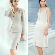 有收腰效果的2款OL风女士棒针裙装(西装领套裙+背心裙)