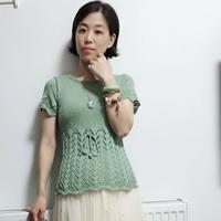 绿油油 天蚕丝女士棒针蝴蝶镂空花短袖衫