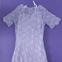 紫藤萝 云帛II女士棒针棕榈花短袖连衣裙