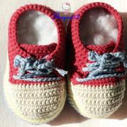 趣编织儿童钩针运动鞋放大版
