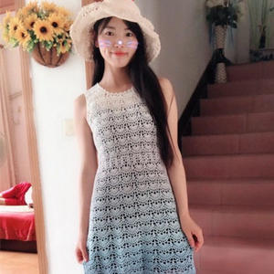 藍蓮花 蛋糕線鉤針編織女士漸變夏日無袖裙