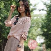 粉红回忆 活泼可爱从上往下织女士棒针圆肩毛衣