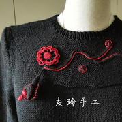 钩花点缀原创编织女士棒针长袖套头毛衣