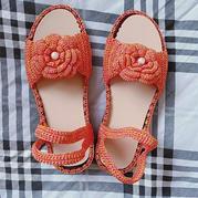 空心线编织夏款女士钩针玫瑰花凉鞋