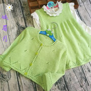 清馨 草绿色清新儿童棒针开衫背心裙套装