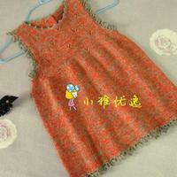 宝宝橙灰色淑女背心裙 棒针编织童裙