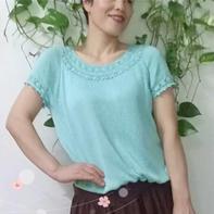 一线连钩花领女士钩织结合从上往下短袖衫