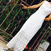 超美的蕾钩针丝无袖礼服长裙编织图解