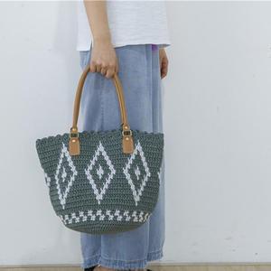 时尚出街款女士钩针菱形提花大包包