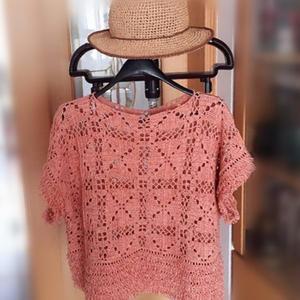 女士钩针萝卜丝针底边拼花罩衫