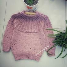 小确幸系列之藕粉 3天就可以织成的淘宝网红款改版粗针织儿童棒针套衫