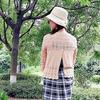 田园风 云素花染后背开叉女士棒针七分袖套头衫