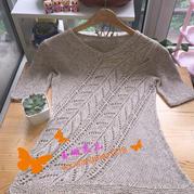斜阳 LK150机织女士棒针斜纹镂空花短袖衫