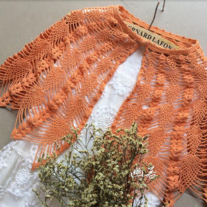 慕橙 6号蕾丝钩针菠萝小披肩