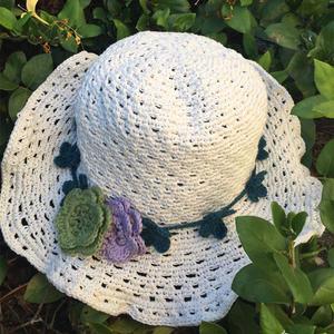 日本棉草女士钩针太阳帽