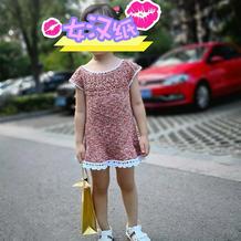 简单漂亮的钩织结合儿童亚麻夏衫