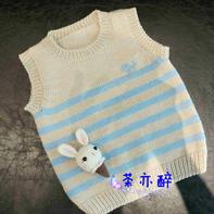 男女宝宝都适合的棒针圆领条纹背心 鲸鱼背心改版