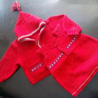 宝宝百天礼物 儿童棒针开衫背心裙编织套装