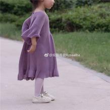 紫水晶 仙气十足大人也适合的棒针木耳边连衣裙