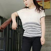星辰大海  SK280编织机机织夏季女士条纹蝙蝠衫