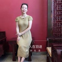 繁枝嫩叶 叶舞改版女士棒针短袖连衣裙