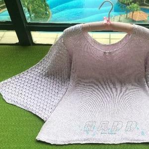 紫藤 云素花染钩织结合女士水袖套头毛衣(附微波狗牙不卷边起针法)