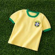 巴西队球服 儿童棒针短袖套头毛衣编织视频