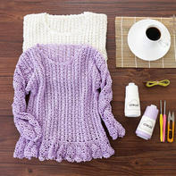 荷叶边灯笼袖套头衫 钩针儿童毛衣编织视频教程