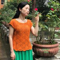 万般皆柔美,世间只棕榈 女士棒针棕榈花短袖衫