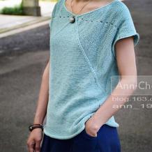 Flex Tee 交叉T  横织纵织女士棒针短袖衫