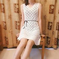毛线球款改版白色圈圈女士钩针小A裙