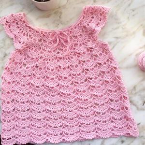从上往下钩可爱粉色钩针宝宝蕾丝裙