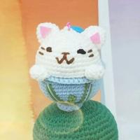 杯中猫!萌可能钩针猫咪挂件编织图解