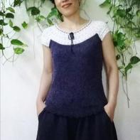 女儿的编织衫 女士钩织结合实用套衫
