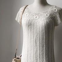 小白裙 从领口往下钩女士钩针短袖连衣裙