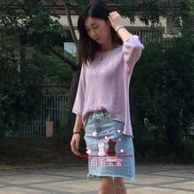 紫藤 云素花染女士棒针前短后长休闲棉麻衫