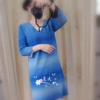 青花瓷 秋款女士棒针长袖直筒裙