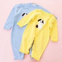 婴幼儿棒针生肖狗狗爬服编织视频(4-1)后片裤腿及身体部分织法