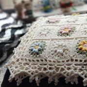 手工編織立體鉤花拼花小蓋毯編織教程
