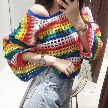 彩虹衣 看图仿衣淘宝女士棒针条纹镂空衫