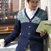 儒雅有型的男士棒針V領插肩開衫毛衣