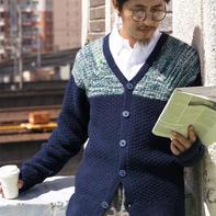 儒雅有型的男士棒针V领插肩开衫毛衣