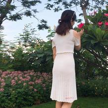 原创小白裙 女士钩针露肩短袖连衣裙