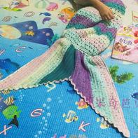 爱丽儿 宝宝大爱的钩针美人鱼毯子