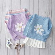 男女宝宝都适合的儿童钩针卡通图案长袖套头毛衣