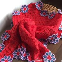可作宝宝毯也可以作成人护膝盖毯的钩针雏菊拼花毯