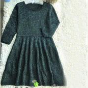 小黑裙 女士棒针长袖大摆连衣裙