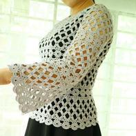 洛丽塔 女士钩针镂空花喇叭袖套头衫